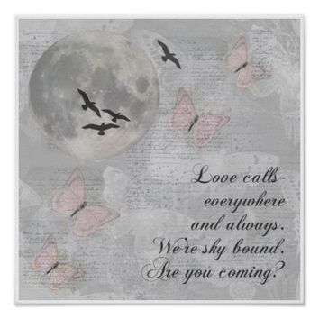 Moon Birds Love Calls Rumi Collage Art