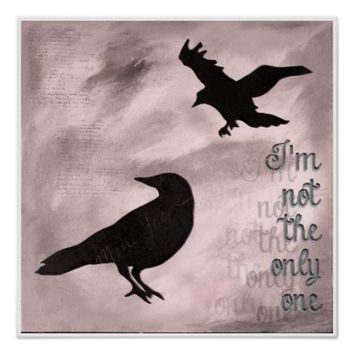 Crow Not the Only One Pink Collage Art