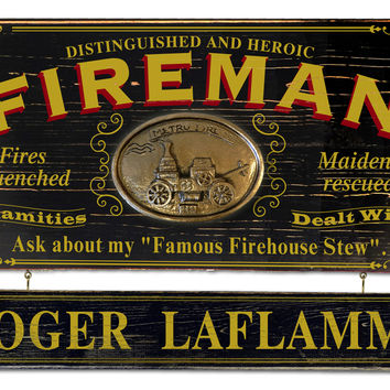 Vintage Fireman Plaque with Custom Hanging Name Plank