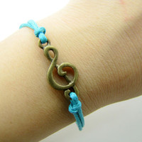 jewelry bangle vintage bracelet, music pendant blue ropes bracelet, women's ropes bracelet 564A