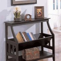 Magazine Rack Console Table - Black Finish
