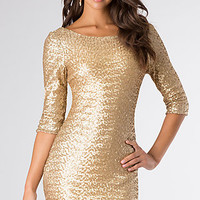 Gold Sequin Short Homecoming Dress by Ruby Rox