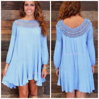 Dharma Darling Misty Blue Crochet Dress