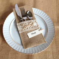 10 burlap and lace rustic silverware holder, wedding, bridal shower, tea party table decoration
