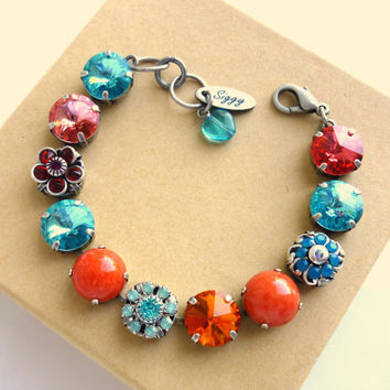 Swarovski crystal bracelet, Gypsy Maiden, 12mm bright turquoise and coral, OOAK, designer inspired bracelet