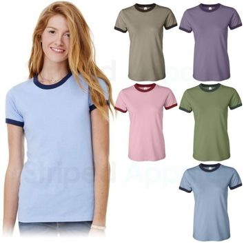 Bella Ladies Heather Ringer T-Shirt S-2XL Womens Heathered Short Sleeve Tee 6050