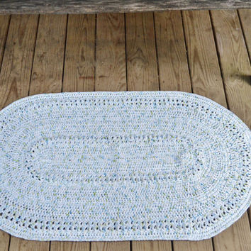 crochet cotton rug white green yellow blue housewares bathroom mat kitchen floor oval rustic large home decor lacey christmas gift