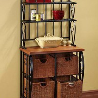 Baker&#x27;s Rack with Storage Baskets - Baker&#x27;s Racks - Kitchen Furniture - Furniture | HomeDecorators.com