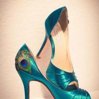 Teal Peep Toe Peacock Pumps | Cute Shoes | Poetrie.com