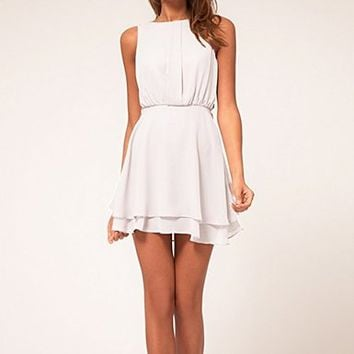 Sleeveless Dress with Tie Waist 063008 Color White Size XL