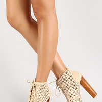 Qupid Enclose-77 Perforated Lace Up Peep Toe Platform Bootie