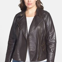 Halogen Zip Detail Leather Moto Jacket (Plus Size)