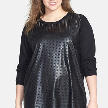 Halogen Perforated Faux Leather & Wool Blend Tunic (Plus Size)