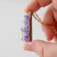 Amethyst Druzy Geode Slice Pendant Necklace on Gold Chain