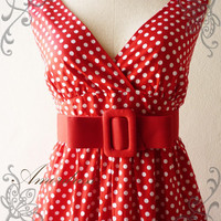Amor Vintage Inspired- Vintage Retro- PoLkA DoT-in Red Dress Cocktail Cotton Dress Free Belt  Party or Everyday Dress -Fit size S-M-