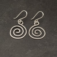 Sterling Silver Earrings- Silver Swirl Earrings- Sterling Silver Spiral Earrings- Dangle Earrings- Modern Silver Jewelry