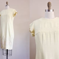 60s dress / vintage 1960s shift dress / pastel yellow linen & lace summer dress  // M L