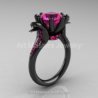 Art Masters Exclusive 14K Black Gold 3.0 Ct Pink Sapphire Cobra Engagement Ring R602-14KBGPS
