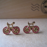 Bicycle Earrings Studs (Pink)