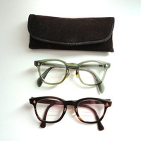 Vintage Mens Eyeglasses 1960s Mad Men Horn Rimmed 2 Pair