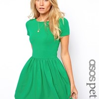 ASOS PETITE Slash Neck Skater Dress with Short Sleeve