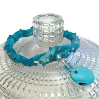 Turquoise Fabric Bangle Bracelet Cotton Dangle Mother of Pearl Disc