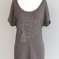 Cage Free Dolman Sleeve Eco Friendly Pima Modal Tshirt in Storm Grey
