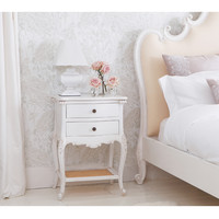 Provencal 2-Drawer White Bedside Table