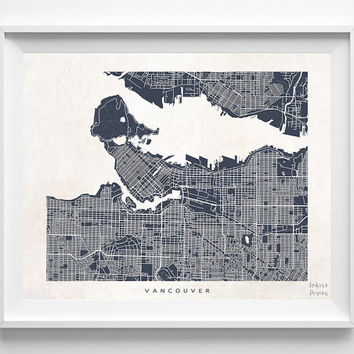 Vancouver, Canada, Map, State, Print, Beautiful, Nursery, Poster, Wall Decor, Town, Illustration, Room, Art, World, Street [NO 537]