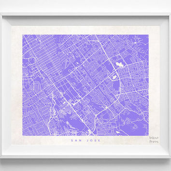 San Jose, California, Map, State, Print, Beautiful, Nursery, Poster, Wall Decor, Town, Illustration, Room, Art, World, Street [NO 532]