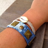 Studded Friendship Bracelet Cuff , Tie Dye Denim