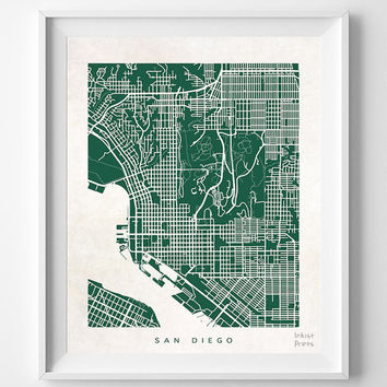 San Diego, California, Wall Decor, Town, Illustration, Map, State, Print, Beautiful, Nursery, Poster, Room, Art, World, Street [NO 530]