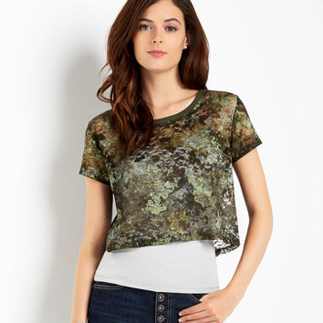 Map To Mars Sheer Camo Lace Crop Top