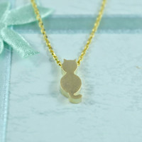 Cute Cat Necklace, Gold Plated Brass Pendant, Delicate Chain,Everyday Wear, Perfect Gift