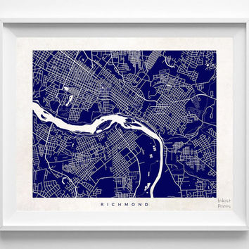 Richmond, Virginia, Wall Decor, Town, Illustration, Map, State, Print, Beautiful, Nursery, Poster, Room, Art, World, Street [NO 526]