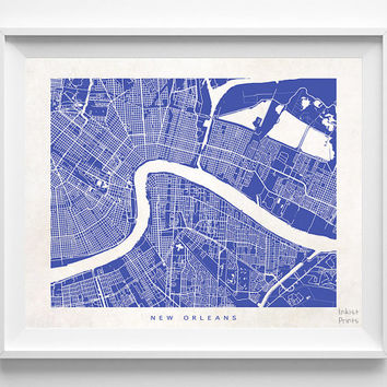 New Orleans, Louisiana, Map, State, Print, Nursery, Poster, Wall Decor, Town, Illustration, Pretty, Room, Art, Cute, World, Street [NO 514]
