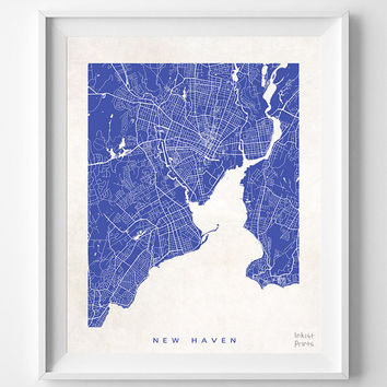New Haven, Connecticut, Map, State, Print, Nursery, Poster, Wall Decor, Town, Illustration, Pretty, Room, Art, Cute, World, Street [NO 513]