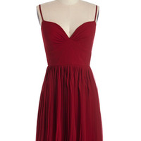 ModCloth Mid-length Spaghetti Straps A-line Looking Red Haute Dress