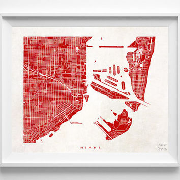 Miami, Florida, Pretty, Room, Art, Cute, World, Map, State, Print, Nursery, Poster, Wall Decor, Town, Illustration, Street Map [NO 507]