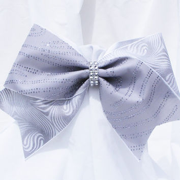Cheer bow - Grey with sliver glitter swirls and a rhinestone center.  cheerleader bow - dance bow -Cheerleading bow