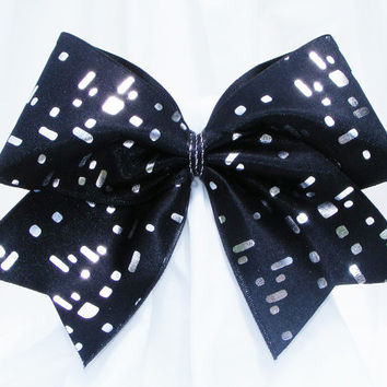 Cheer bow -  Black with rectangle sequins holographic fabric. cheerleader bow - dance bow -cheerleading bow