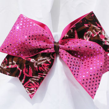 Cheer bow- Pink sequins with brown and pink swirls. cheerleader bow - dance bow -cheerleading bow