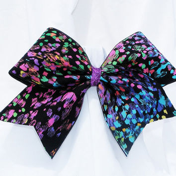 Cheer bow - Neon colored splatters with black back ground.  cheerleader bow - dance bow -cheerleading bow
