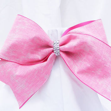 Cheer bow - Neon pink with glitter and rhinestone center.  cheerleader bow - dance bow -cheerleading bow