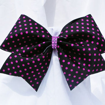 Cheer bow -  Black with neon pink polka dots and rhinestone center.  cheerleader bow - dance bow -cheerleading bow