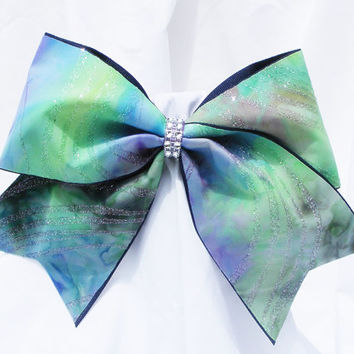 Cheer bow - Green, purple, blue spiral print with glitter and rhinestone center.  cheerleader bow - dance bow -cheerleading bow