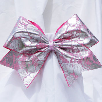 Cheer bow - Pink with metallic sliver lace pattern holographic fabric.  cheerleader bow - dance bow -cheerleading bow