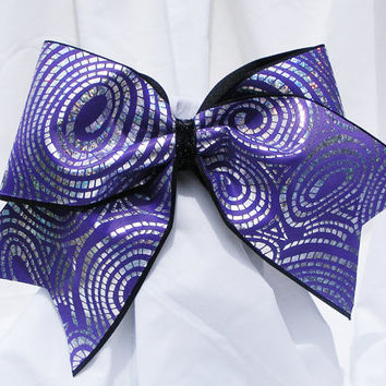 Cheer bow - Your choice of purple, white, pink or green with spiral sliver holographic fabric. cheerleader bow - dance bow -cheerleading bow