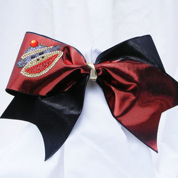 Cheer bow - Red and black with rhinestone sock monkey. cheerleader bow - dance bow -cheerleading bow