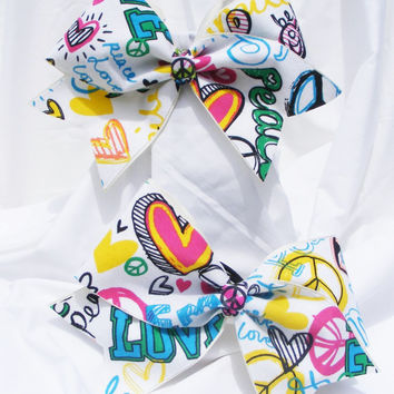 Cheer bow-  Multi colored graffiti style words. cheerleader bow - dance bow -cheerleading bow